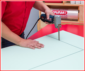Cutting custom cut foam in Prince George Foam Shop